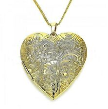 9ct Gold GF Extra Large Floral Locket Pendant 20'' Chain Necklace, St valentine