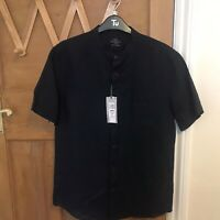 Mens M&S Linen Blend Round Neck Button  Shirt Navy Blue Short Sleeve Small