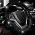 Car Steering Wheel Cover 38cm Shiny Rhinestone Bling Diamonduniversal Black