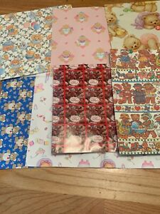 Wrapping Paper Scrapbook Ephemera Shower Bears Baby 7 Sheets 80's 90's Prop Gift