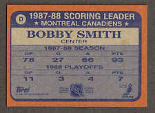 "1988-89 Topps Canadiens' Bobby Smith Box-Bottom ""D"", Nr-Mint"