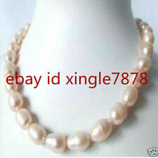 Charming 10-11mm Genuine Huge Pink Baroque Akoya Pearl Necklace 20'' AAA++