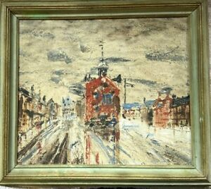 Impressionist Oil Painting Busy Street Scene 1962