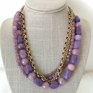 Multi-strand Purple Gemstone Gold Tone Necklace Belcher Chains Holiday Statement