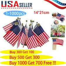 "1-1000x Small American Flags Small Us Flags/Mini American Flag on Stick 5x8"" In"