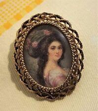 BIJOU ANCIEN VINTAGE BROCHE portrait femme métal doré signé FLORENZA / 150C
