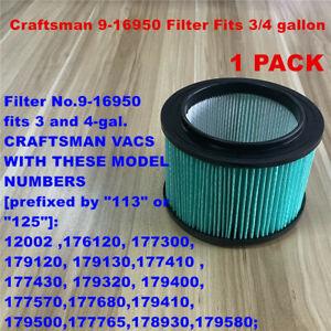 1 PACK Craftsman 9-16950 Filter Fits 3/4 gallon vacs HEPA material filter