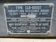 CAPACITY RESISTANCE BRIDGE clough brengle  CLB60007 VINTAGE ELECTRONIC EQUIPMENT