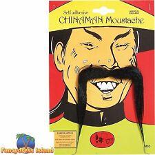 FAKE BLACK ORIENTAL CHINESE MOUSTACHE TASH Mens Fancy Dress