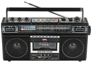 QFX J-22U Retro Collection 4-Band Radio +Bluetooth +Cassette to MP3 Converter