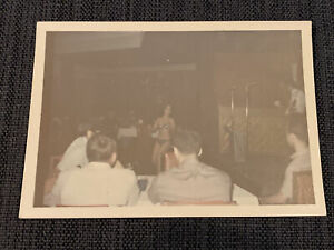 Sexy Asian Stripper Dancing Overexposed Vintage 1970s Photograph