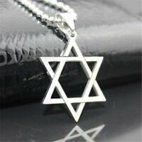 Fashion Men Stainless Steel Hexagram Pendant Necklace Chain