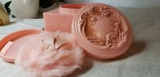 Vintage Pink Evyan White Shoulders Powder Box Puff Plastic Art Noveau Lid