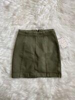 NWT Free People Skirt Mini Modern Femme Denim Army Green Size 0