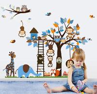 wall stickers monkey tree owl birds swing decals decor vinyl baby zoo animal II
