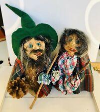 Vintage Norwegian Troll Figures Handmade Wood - Husband & Wife - Christmas 001C