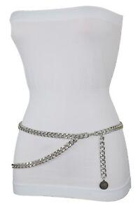 Women High Waist Hip Exquisite Style Belt Silver Metal Chain Coin Buckle XL XXL