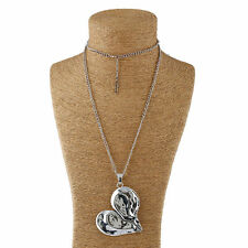 Lagenlook Tibetan Silver Large Heart Charm Pendant and Long Curb Chain Necklace