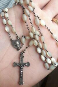 Chapelet Ancien Argent & nacre rosary silver religious art deco 42cm 14.8g