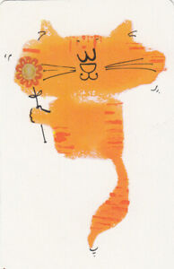 #234 1 vintage single playing swap card - Cats -  Cute Deco Cat - JS