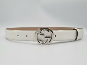 Gucci  white belt, with silver tone buckle – 1.2 inches width