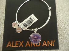 Alex and Ani PEACE & LOVE ART INFUSION Bangle Shiny Silver New W/Tag Card & Box