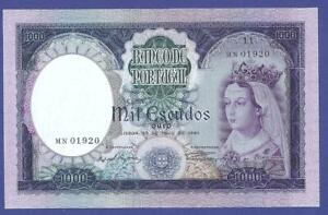 1000 ESCUDOS 1961 GEM UNCIRCULATED BANKNOTE FROM PORTUGAL  !!!!!!!!!!!!!!!!!!!!