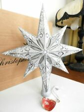 Christopher Radko STELLAR SILVER Star Tree Topper  Ornament - MINT / BOX!