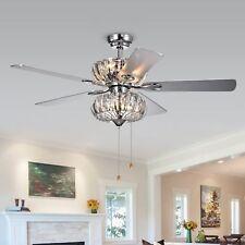 Kyana 6-light Crystal 5-blade 52-inch Chrome Ceiling Fan