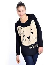S/M Fit Black Cute Happy Cat Slouchy Dolman Sleeve Tunic Length Top