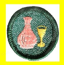 1950s GLASS Girl Scout EUC Badge Patch Bottle Wine Goblet Combine Ship