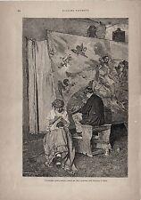 Stampa antica PITTORE E DONNA CHE LAVORA ALL' UNCINETTO 1887 Old antique print
