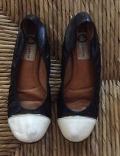 LANVIN Black White Ballet Flats Size 7.5 Classic Women's Shoes
