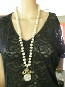 """FRENCH KANDE  SILVER CHAIN BEADED NECKLACE & ST BENEDICT MEDALLION PENDANT 32"""""""