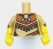 Lego New Torso Female Outline Tribal Dress with Fringe and Necklace 3 Feathers