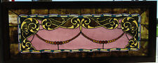 ~ ANTIQUE STAINED GLASS WINDOW 116 JEWELS ~ 61 X 25 ~ ARCHITECTURAL SALVAGE