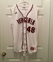 Virginia UVA Cavaliers Baseball #48 Rawlings Sleeveless Game Worn White Jersey