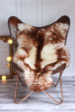 Genuine Natural Sheepskin Rug, Pelt Mouflon Style Brown Red Tips RUSTIC STYLE