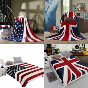 Soft Flannel Blanket Micro Plush Fleece Flag Print Blanket Rug Throw Bedding Kit