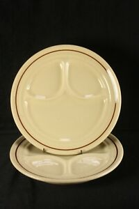"""Buffalo China Cafe 2 Grille Plates 9 1/2"""" Divided Restaurant Tan With Brown Band"""