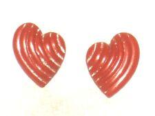 Earrings Heart Studs Red Womens