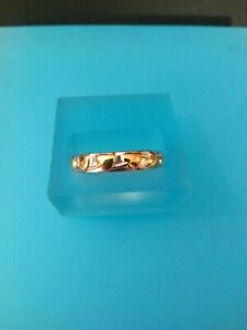 TJC Sterling Silver Band Ring with Gold Vermeil Appliqued Leaf Patterns (O)