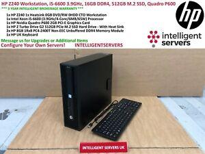HP Z240 Workstation, i5-6600 3.9GHz 4C, 16GB DDR4, 512GB M.2 SSD, Quadro P600