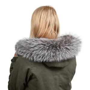 Custom-Made Silver Fox Fur Hood Trim! Grey Wrap Scarf Natural Real Fur Collar