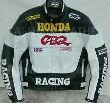 New Mens White Black Motorbike Racing Cowhide Leather Biker Jacket For Honda CBR