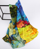 100% Silk Satin Scarf Women neckerchief Shawl Wrap Floral yellow red blue JH4-25