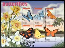 2002 MNH GRENADA BUTTERFLY STAMP SHEET BUTTERFLIES INSECT MOTH FLOWERS DAFFODILS