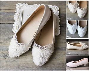 Satin White/Ivory/Blue Lace Ballet Wedding Formal Bridal Bridemaid Flat Shoes