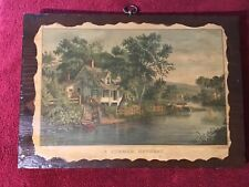 """A Summber Retreat� Wood 1800's Picture: Brass Hanger: Currier & Ives"