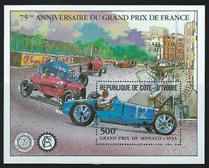 Ivory Coast Sc 616Ss Grand prix 75th Anniv. Winners and their cars 1933 car